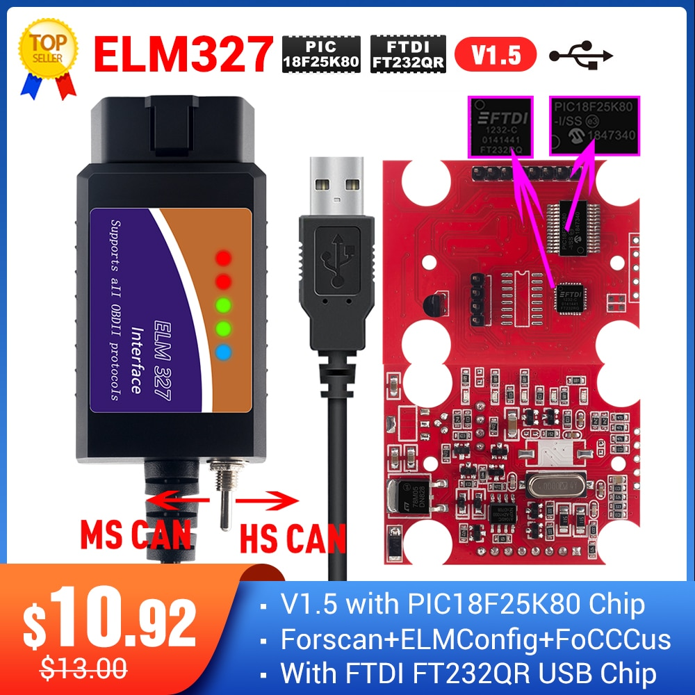 ELM327 USB FTDI with switch code Scanner FORscan ELMconfig HS CAN and MS CAN super mini elm327 obd2 v1.5 bluetooth elm 327 wifi