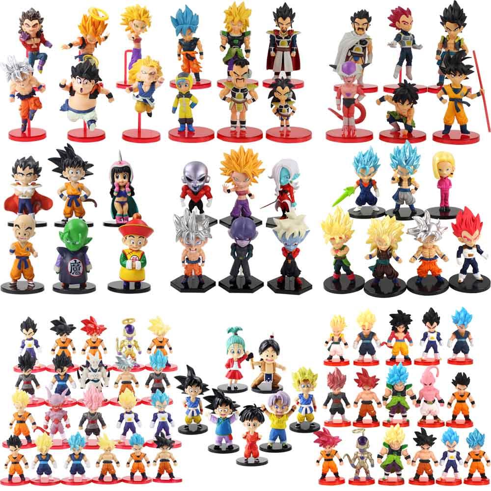 "6-11cm de la bola del dragón del Anime juguetes Super Saiyan Goku Gohan Vegeta Vegetto freezer Zamasu ""bañadores Beerus juguetes en miniatura de PVC regalo"