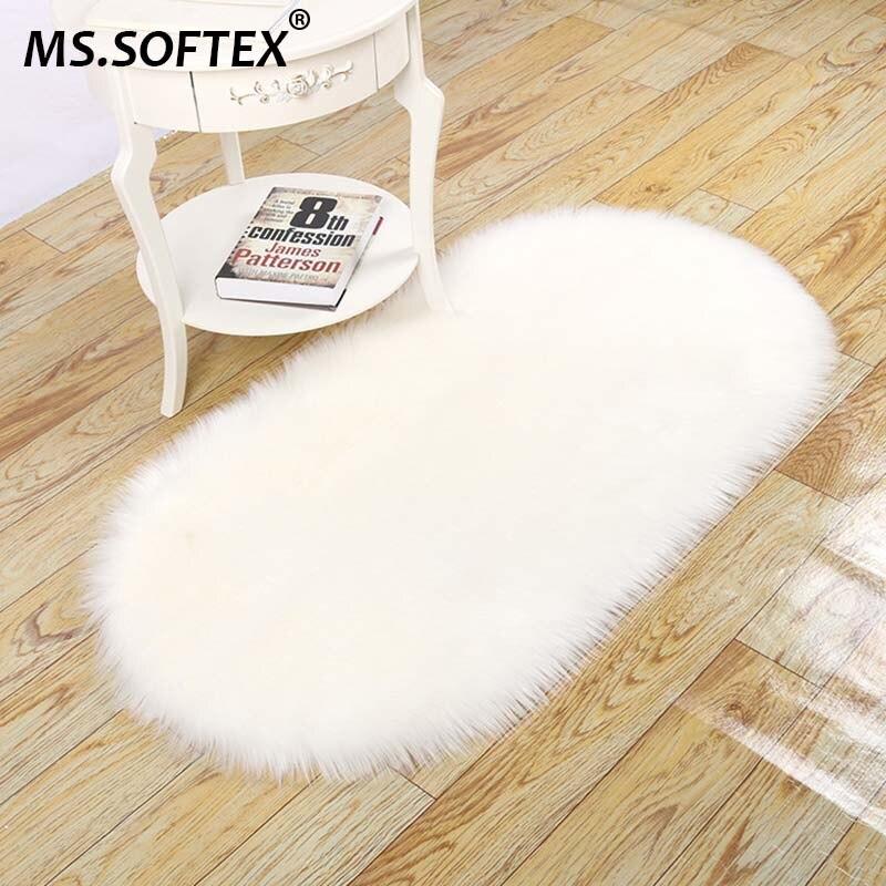 MS.SoftexSoft Faux Pelz Teppich Wohnzimmer Teppiche Lange Plüsch Oval Teppich Künstliche Schaffell Anti kid Teppiche Boden Matte Non slip