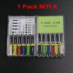 1 pacote 21mm 25mm dental niti k arquivos 15-40 # níquel titânio mais suave e flexível tratamento endodontic arquivos de mão para dentista