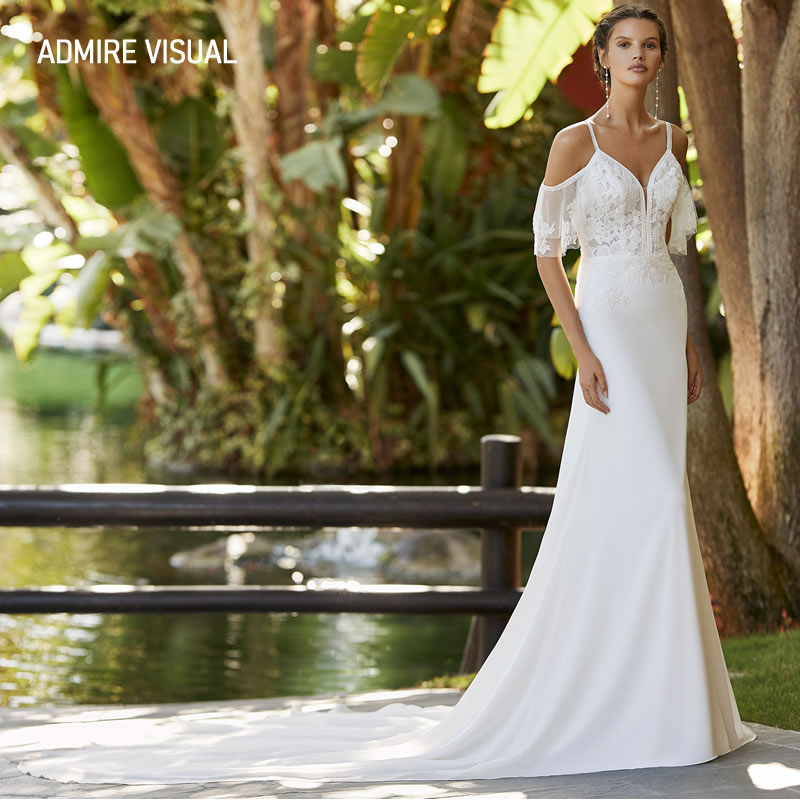 فستان زفاف جديد يصل للعروس a خط رقبة على شكل حرف v طويل مفتوح من الخلف مصنوع حسب الطلب مقاس كبير فستان العروس Vestidos De Novia