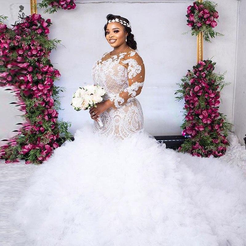 Get Gorgeous African Wedding Dress Mermaid Ruffles Tulle vestido de noiva Lace Bridal Gowns Long Sleeves Wedding Dresses Plus Size