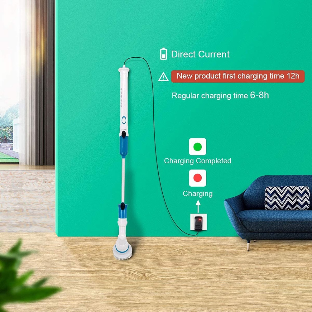 Electric Cleaning Turbo Scrub Brush Adjustable Waterproof Cleaner Wireless Charging Clean Bathroom Kitchen Cleaning Tools Set enlarge