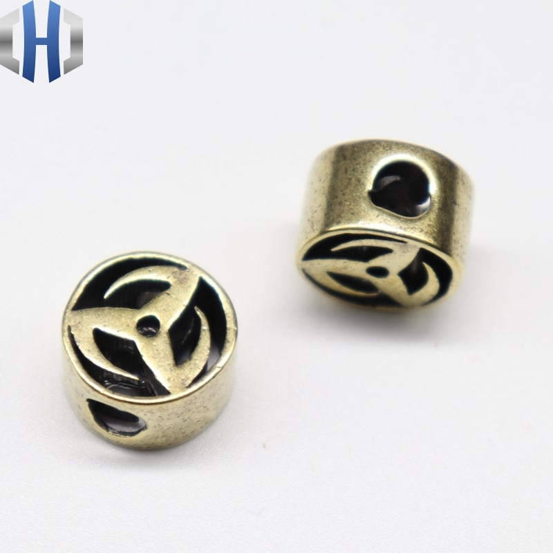 Pur cuivre chaud couteau perles roues couteau pendentif en laiton EDC parapluie corde pendentif personnalité Paracord perles
