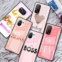 girl and boss glass phone case for xiaomi redmi note 9s 8 9 8t 7 9c capa for mi 10t pro 9t 10 lite tempered cover