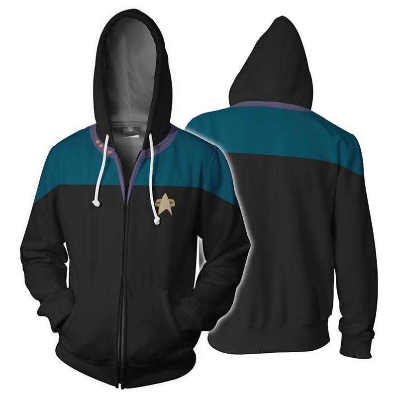 Звездная команда Voyager, косплей, Звездный костюм, толстовка с капюшоном, толстовка с капюшоном, высокое качество, 3D принт, молния, весенняя куртка, толстовки