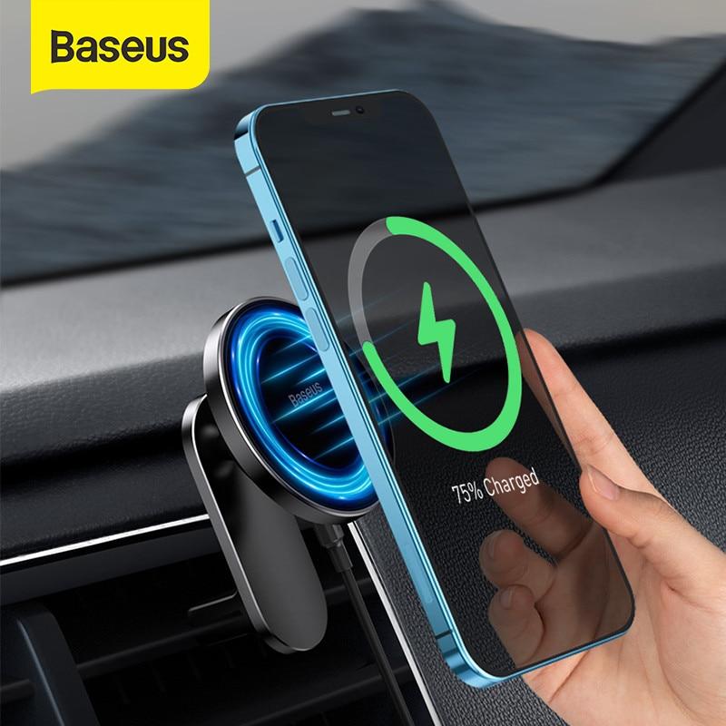 Baseus المغناطيسي حامل هاتف السيارة آيفون 12 برو ماكس حامل هاتف سريع شاحن لاسلكي لسيارة الهواء تنفيس جبل حامل حامل