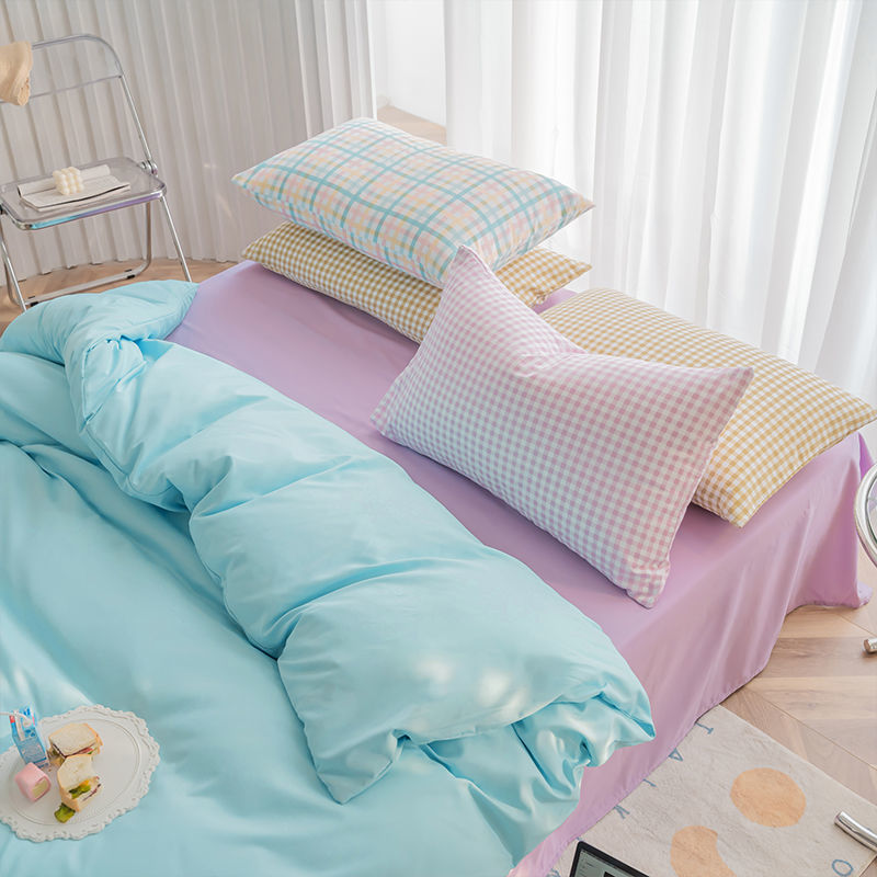 Хлопковое постельное белье ins из четырех предметов для девушек в стиле сердца мороженого цветное постельное белье Сетчатое красное постель...