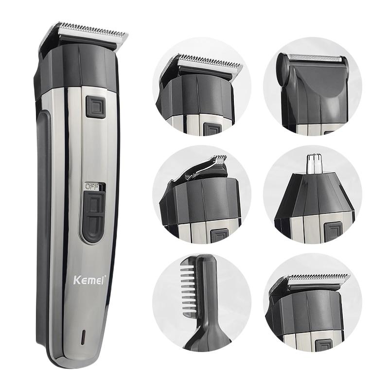Kemei 6 في 1 الحلاقة الكهربائية المهنية الشعر المصمم مقص الشعر أداة تهذيب اللحية اللاسلكية منخفضة الضوضاء آلة قطع سريعة 50
