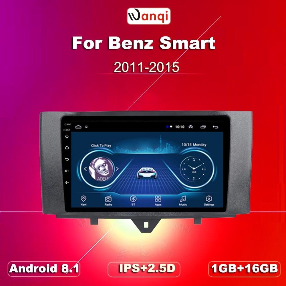 Kit multimídia para carros, acessórios para benz smart fortwo 2011-2015, rádio, vídeo player, navi, gps, android 8.1, swc, bt, wi-fi sedan no dvd