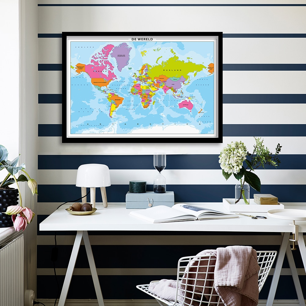colorful world map wall decor 150x225cm large world map office supplies detailed antique poster wall chart for culture supplies 90*58cm The World Map Wall Art Poster Canvas Painting Living Room Home Decoration Office School Supplies In Dutch