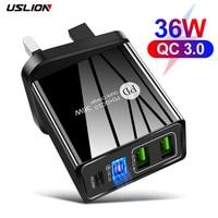 Зарядное устройство USLION с 4 USB-портами и поддержкой быстрой зарядки, 36 Вт