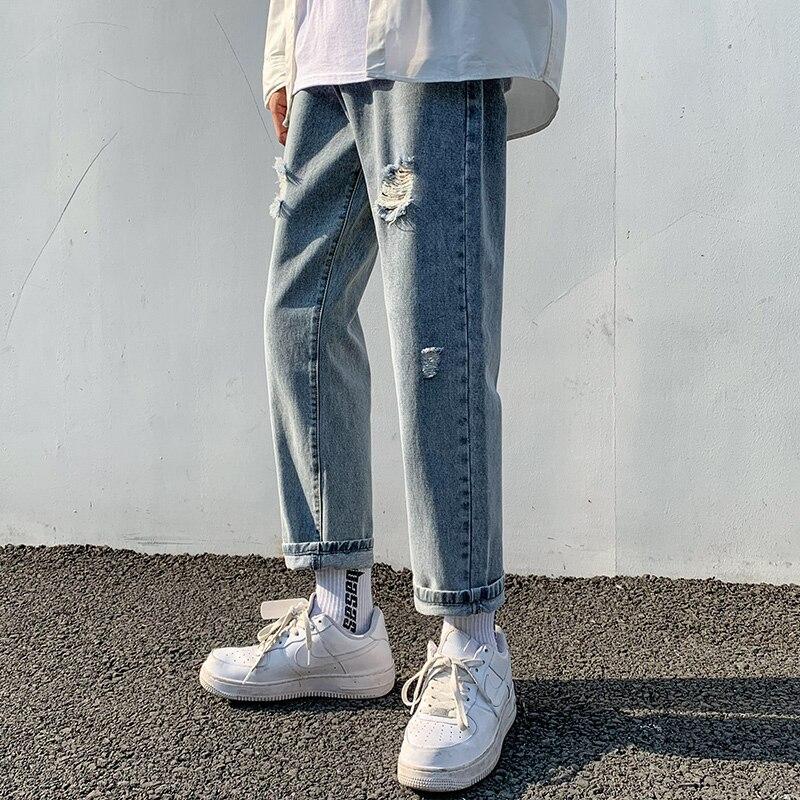 2021 сексуальные тянущиеся рваные эластичные мужские джинсы с дырками джинсовые Маленькие ноги карандаш брюки модные уличные мужские брюки ...