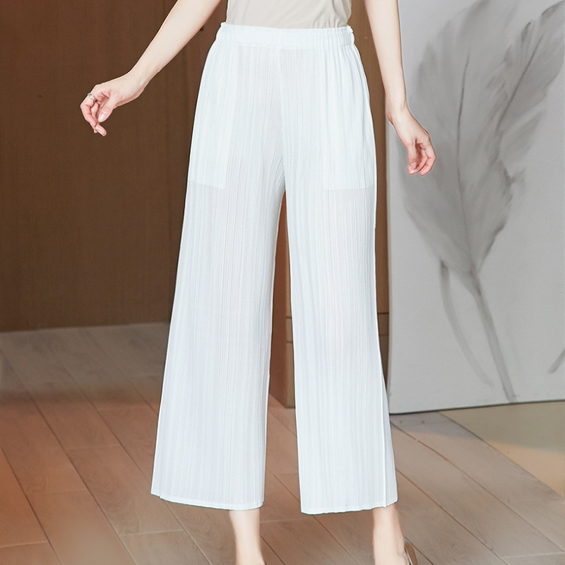 Plus Size 2021 Pants For Women 45-75KG Spring Summer Solid Colour Elastic Loose Miyake Pleated Casual Wide Leg Pants Female