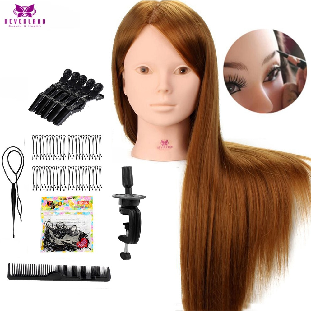 24'' 60% Real Human Hair Mannequin Head For Makeup Practice With Stand Combs Set Blonde Hair Trainin