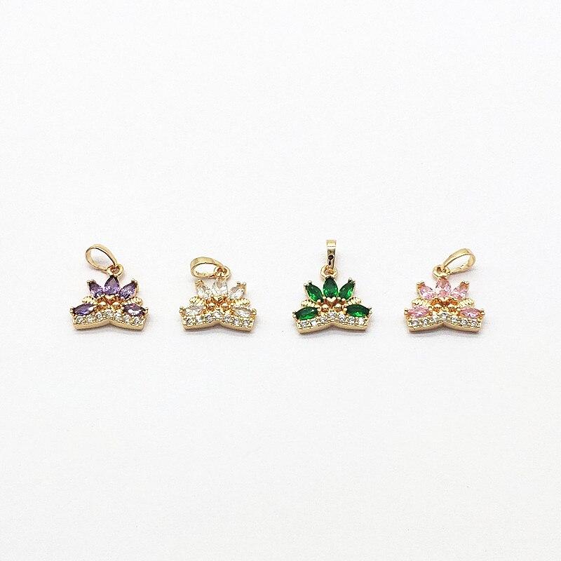 Nouveauté! 19x15mm 30 pièces Zircon forme de couronne breloque/pendentifs pour boucles doreilles faites à la main pièces de bricolage, résultats de bijoux et composants