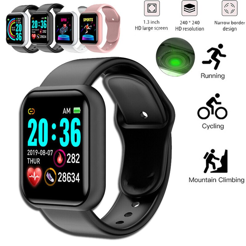 Digital Watch Blood Pressure Heart Rate Monitor Men Women Smart Bracelet IP67 Waterproof Sport Fitness Tracker For Android IOS умные часы smart watch colorful 0 96inch tft ip67 waterproof heart rate monitor multisport mode compatibility with ios and android 90mah long li
