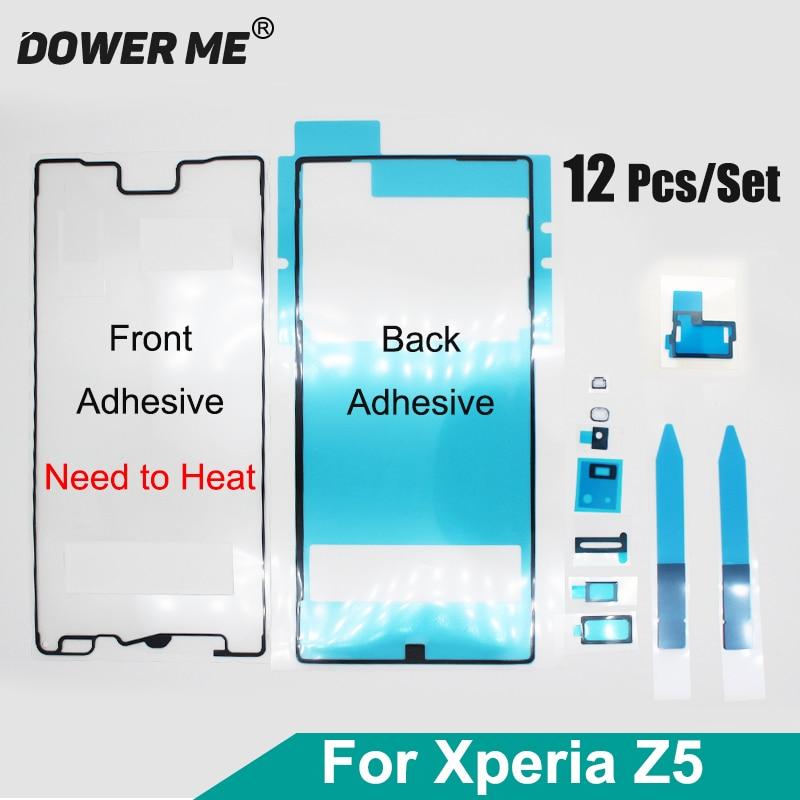 Dower Me 12 unids/set huella dactilar agujero Jack batería de doble cara pegamento frontal parte posterior conjunto completo adhesivo para Sony Xperia Z5 Z5Dua