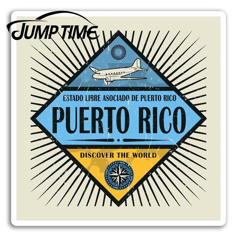 Tiempo de salto para Puerto Rico vinilo pegatinas Retro viaje pegatina Laptop equipaje Ventana de camión calcomanía de parachoques accesorios impermeables