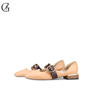 GOXEOU Women's Ballet Flats PU Matte Black White Nude Belt Buckle Thick Heel Casual Party Fashion Office Lady Shoes Size 32-46