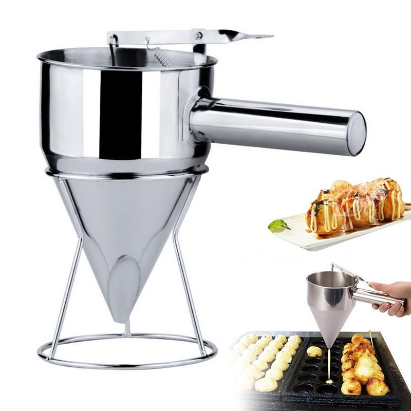 Embudo para hornear de acero inoxidable, dispensador de masa para panqueques con soporte para hacer postres y pasteles