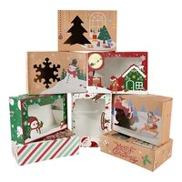 4pcsset christmas clear window kraft paper box candy cookie gift box packaging bags christmas birthday wedding party decoration