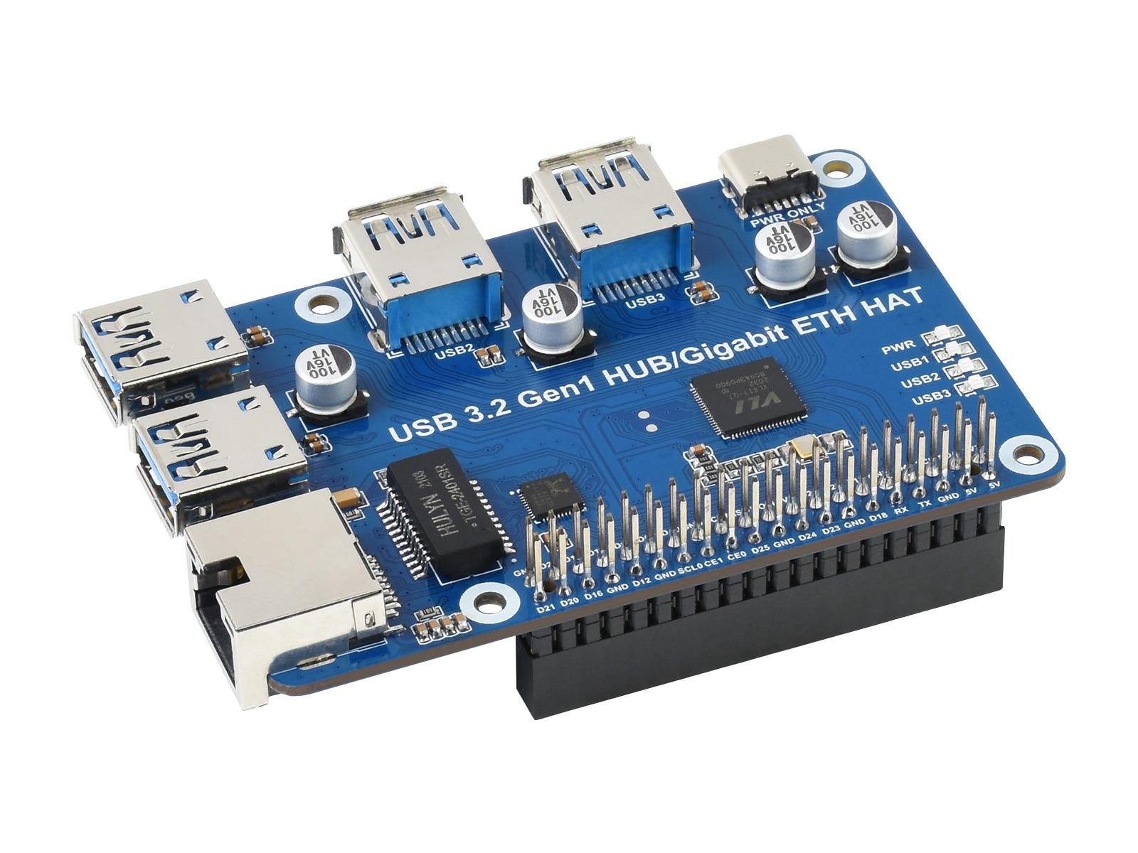 USB 3.2 Gen1 HUB جيجابت ETH قبعة ، لتوت العليق Pi ، 3x USB 3.2 Gen1 ، 1x جيجابت إيثرنت ، سائق خالية