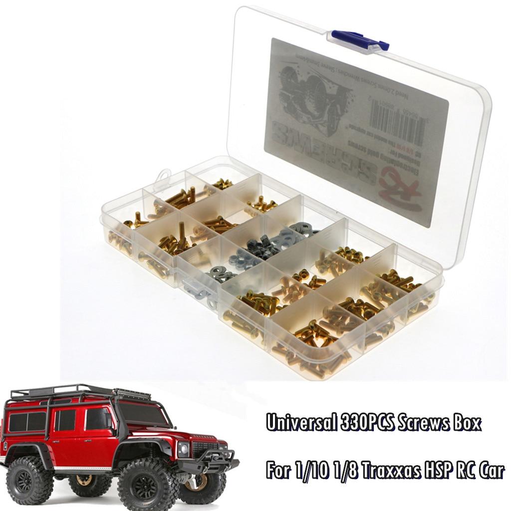 Upgrade Universal 330PCS Screws Box Kit For 1/10 1/8 SCX10 HSP RC Car Accessories kids toys juguetes