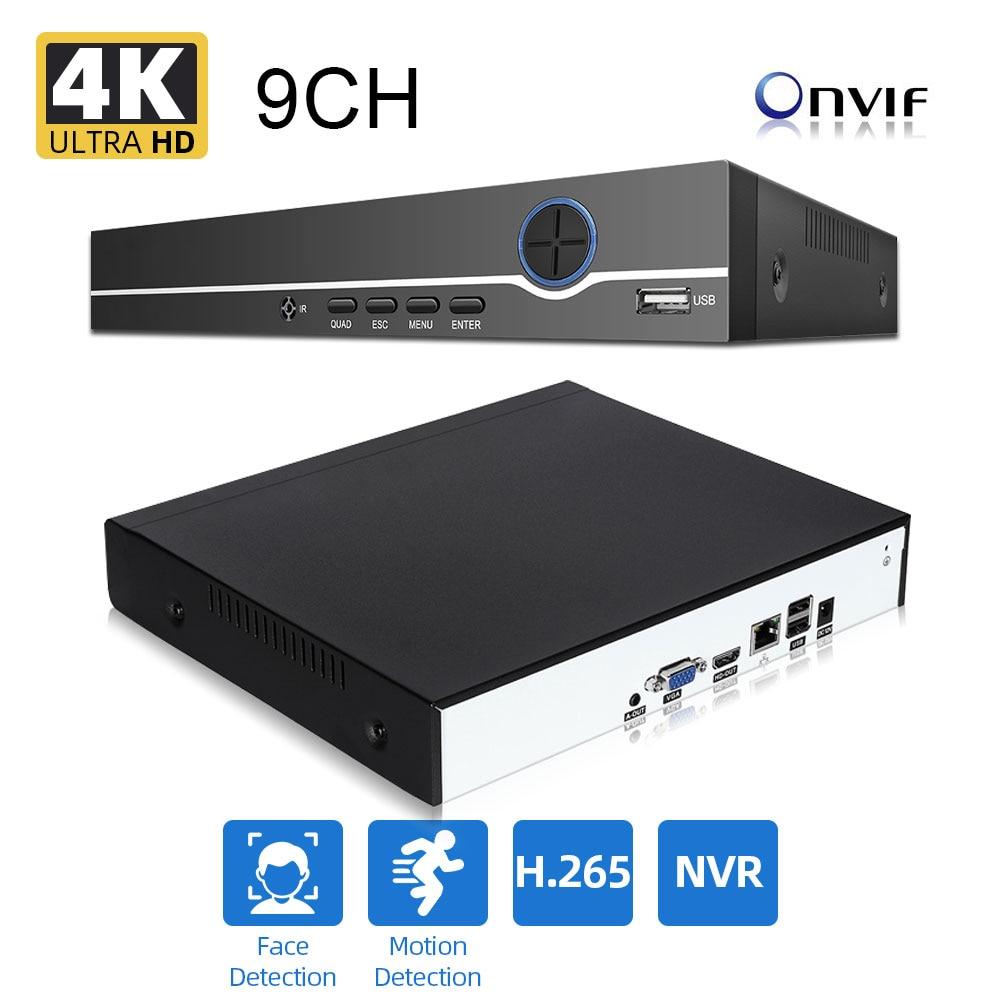 مسجل فيديو أمان h265 Max 4K ، كشف الوجه ، صوت CCTV ، NVR ، 8 ميجابكسل/5 ميجابكسل ، 9 قنوات ، كشف الحركة ، ONVIF P2P CCTV NVR