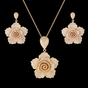Zlxgirl jewelry Luxury Sparking Brilliant Cubic Zircon Earring Necklace Heavy Dinner Jewelry Set Dubai gold Bridal jewelry set