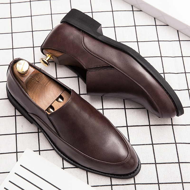 2020 Casual shoes men slip on high quality leather loafers round top Spring Autunm business comforta