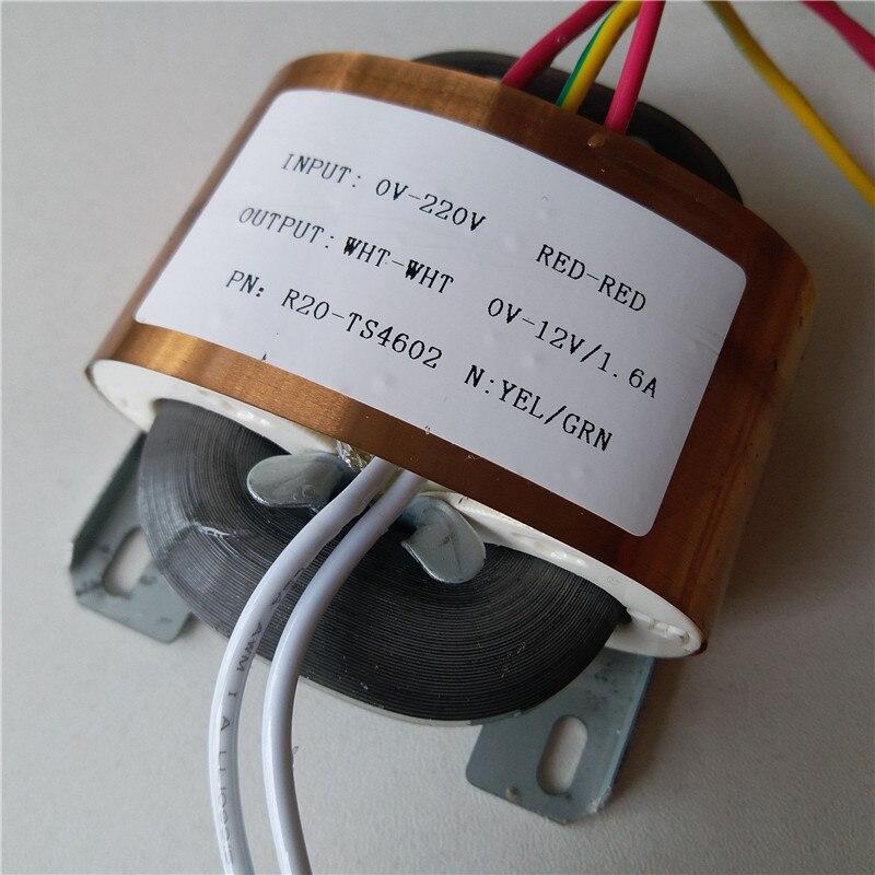 12V 1.6A Transformer R Core R20 custom transformer 220V/230V input 20VA copper shield DAC pre-amplifier HIFI decoder