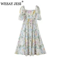 wesay jesi women clothing dress traf za 2021 sweet floral print long dress woman square neck puff sleeve hollow bow party dress