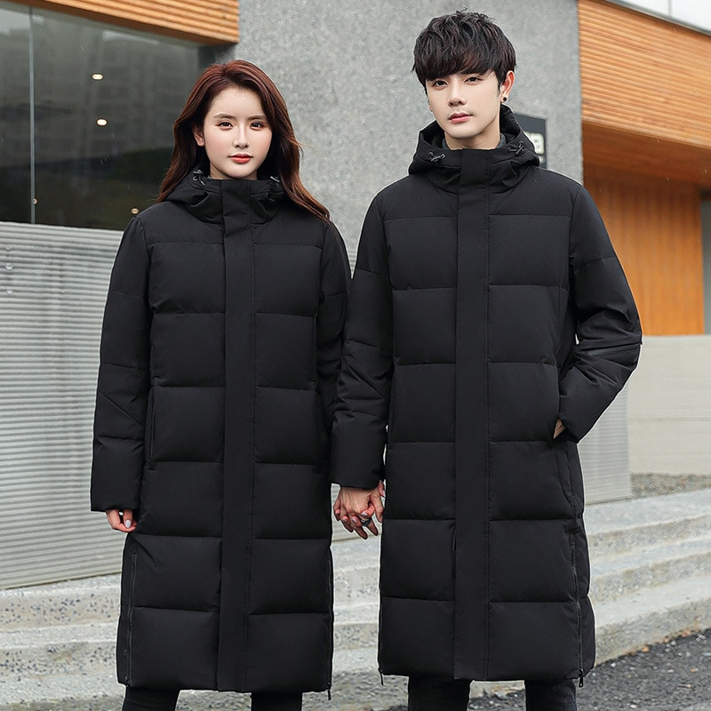 Couple  winter jacket 90% white duck down coat long men's loose down jacket young thickening fashion trendy outwear