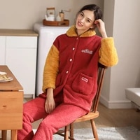 pajama sets ladies winter thickening plus thick velvet warm sleep wear student suit coral home two piece bedroom set lounge