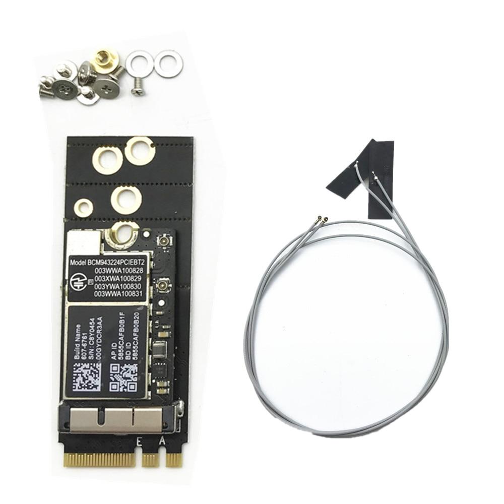 برودكوم BCM943224PCIEBT2 300Mbps دعم بلوتوث 4.0 NGFF M.2 مفتاح بطاقة A/E + هوائيات لنظام التشغيل ماك هاكينتوش