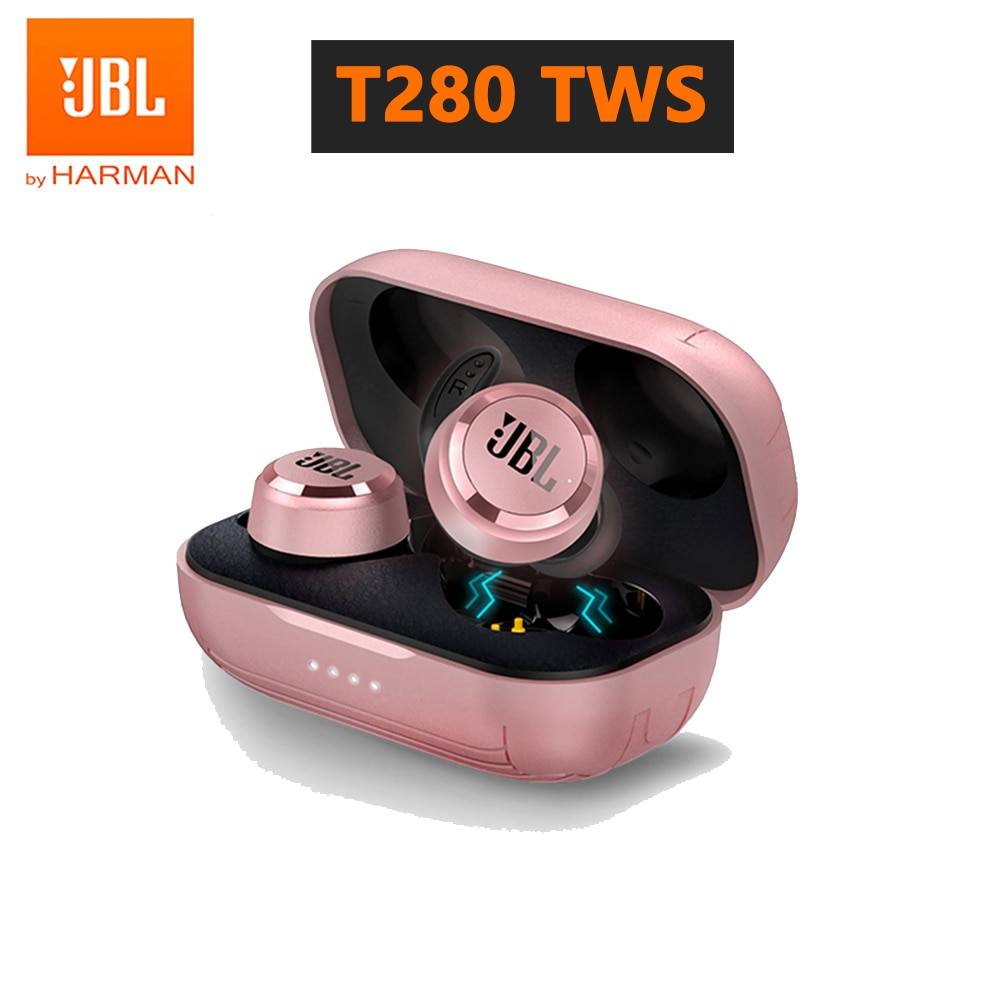 JBL-auriculares inalámbricos T280 TWS, cascos originales con Bluetooth y micrófono, estuche de...