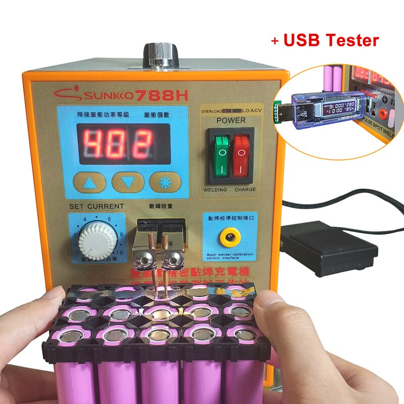 SUNKKO 788H 788USB Battery Spot Welder double pulse USB Charging function 18650 Battery welding machine