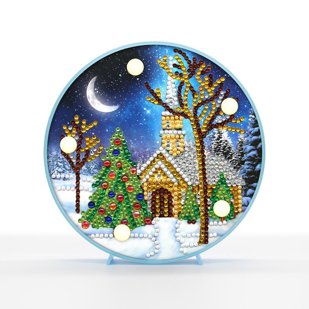 Casa de nieve de Navidad luz de la noche con diamantes perlas diamantes pintura mosaico con marco regalo para amigos Mini mesa de luz ZXD079