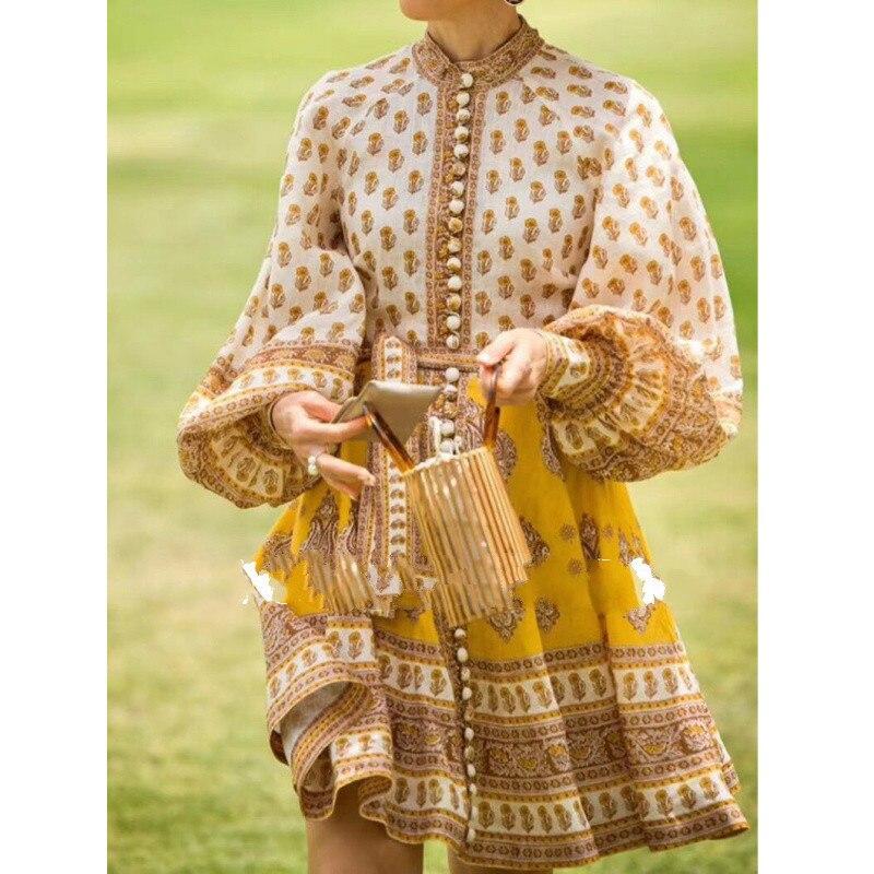 LouLanPrinting botón verano fiesta playa camisa Boho manga larga amarillo vestido elegante mujeres Vestidos Oodji señoras Vestidos Vintage