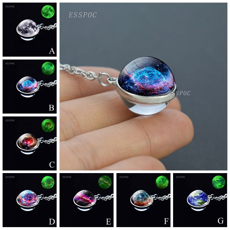 Glow no escuro galáxia bola de vidro colar sistema solar planeta esfera pingente corrente colar jóias para mulher