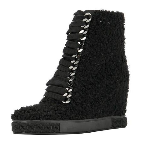 Las niñas de lana negra de invierno 8 cm altura creciente de encaje para arriba las botas de tobillo de cuña delantera Mujer cómoda cremallera trasera botines cortos señora