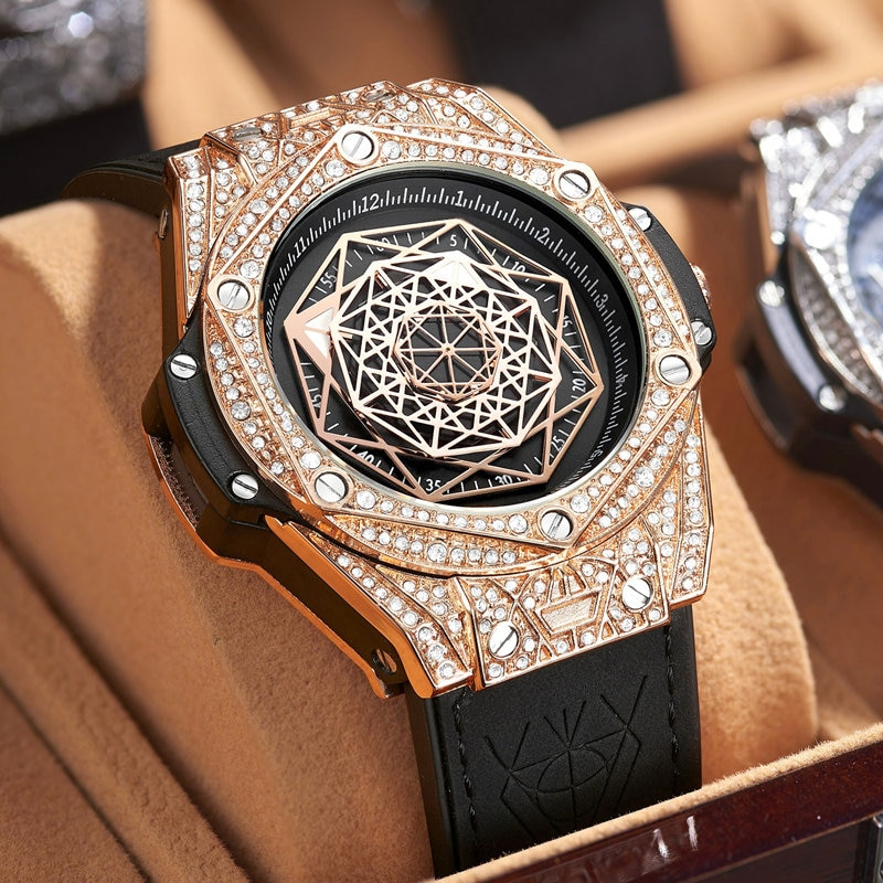 أفضل ساعة ماركة فاخرة للرجال كبير الماس والجلود التناظرية موضة ساعات ذهبية كوارتز ساعة اليد Relogio Masculino
