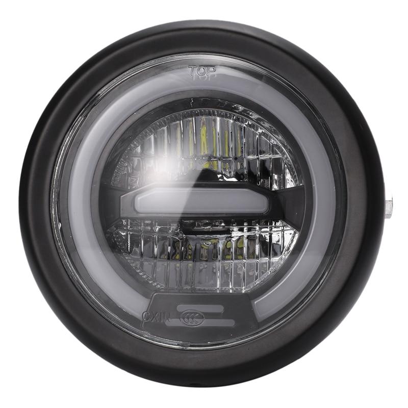 6,5 pulgadas motocicleta Retro Metal negro LED faro de luz diurna para CG125 GN125 Honda