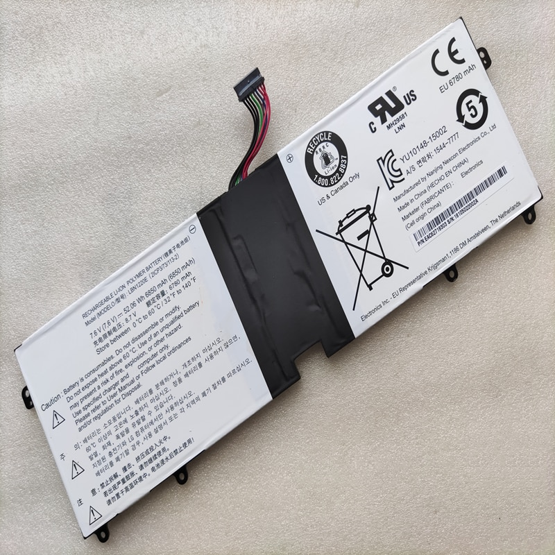 Nova LBN1220E para LG Gram 15Z960-T.AA52U1 / T.AA75U1 15UD560-KX50K / KX5SE/KX7DK/52.06Wh KX7USE Genuine laptop bateria 7.6V