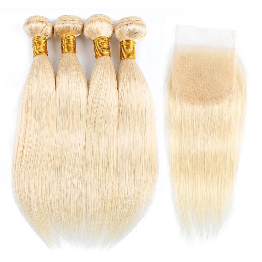 #613 Blonde 4 Bundles With 4x4 Lace Closure T Part 4*1 Closures 50g/bundle Remy Brazilian Human Hiar Extension