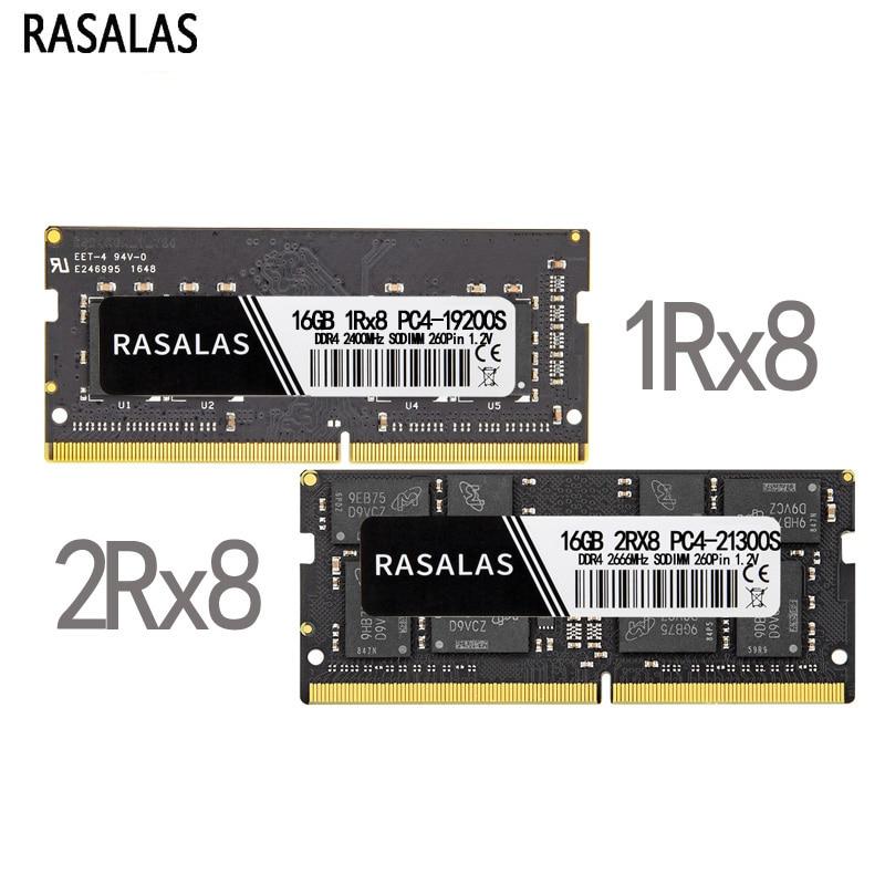 Rasalas ذاكرة عشوائية Ram DDR4 8G 4G 16G Oперативная Nамять محمول 2Rx8 1Rx8 17000 19200 21300 SODIMM ميموريال 260PIN 1.2V Netobook RAM