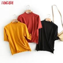 Tangada 2020 mode femmes printemps solide mince chandail demi manches vintage dames style court élégant tricoté pull hauts BC54