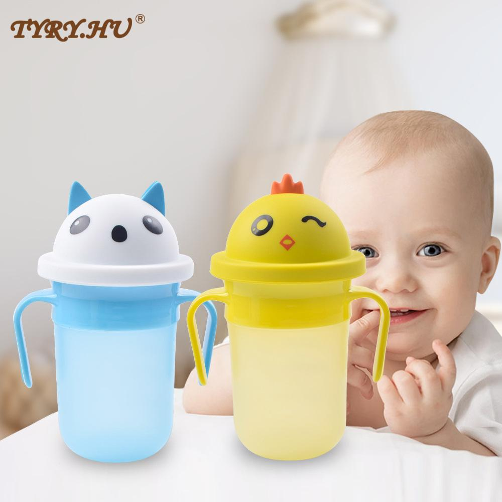TYRY.HU Cartoons Food Grade Silicone Baby Drinking cup Anti-choke Baby Feeding Cup With Silicone Sippy Leakproof Cup BPA Free