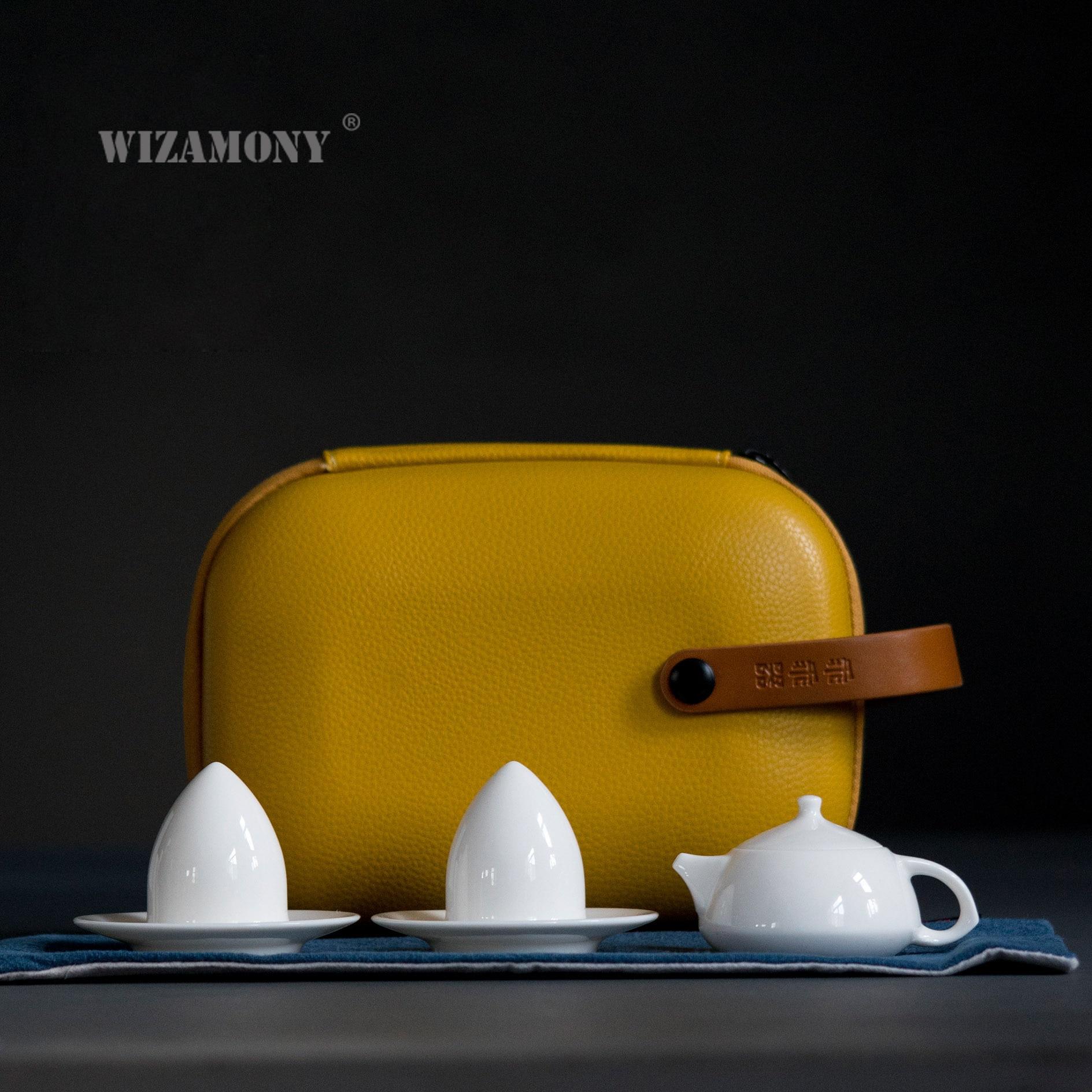 WIZAMONY-طقم شاي الكونغ فو الصيني ، حقيبة سفر ، إبريق شاي gaiwan ، فنجان معرض ، أطقم شاي سيراميك أبيض ، هدايا للأطفال ، أدوات الشرب